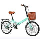 Mini bicicleta de montaña plegable de acero de alto carbono, bicicletas de cercanías para bicicletas ligeras y de bajo impacto Speed Shock frenos de disco duales Bicicleta para estudiantes,Verde