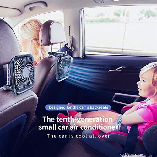 ALOVEMO Car Fans, Multi-Function Silent Folding Car Rear Seat Fan Desktop Silent Fan Summer Auto Cooling Air Fan Air Circulator for Sedan SUV RV Boat Vehicles (Black)