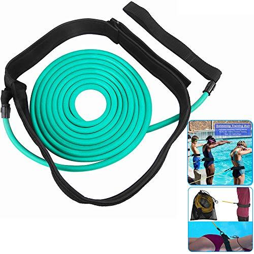 ELEWELT 4M Swim Training Belts, Swim Tether Stationary Swimming Trainer, Swimmer Resistance Bands Static Swimming Training Belts for Adult Kids Leash Mesh Pocket Safety Swimming Pool Tools (Green)