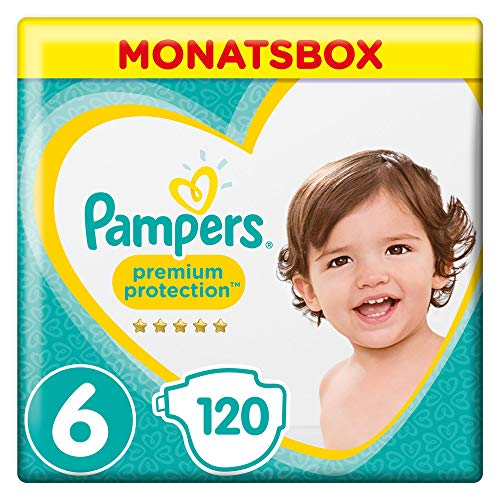 Pampers Premium Protection Monatsbox Vorteils-Set: Premium Protection Windeln Gr. 6 (13-18 kg), 1 x 120 Stück und Premium Protection Pants Gr. 5 (12-17 kg), 1 x 132 Stück