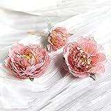Artificial Flower Hair Sticks,Peony Flower Pearl Hairpin Hair Fork,Chinese Style Hanfu Headdress Bridal Wedding Beach Hair Clip(Pink)
