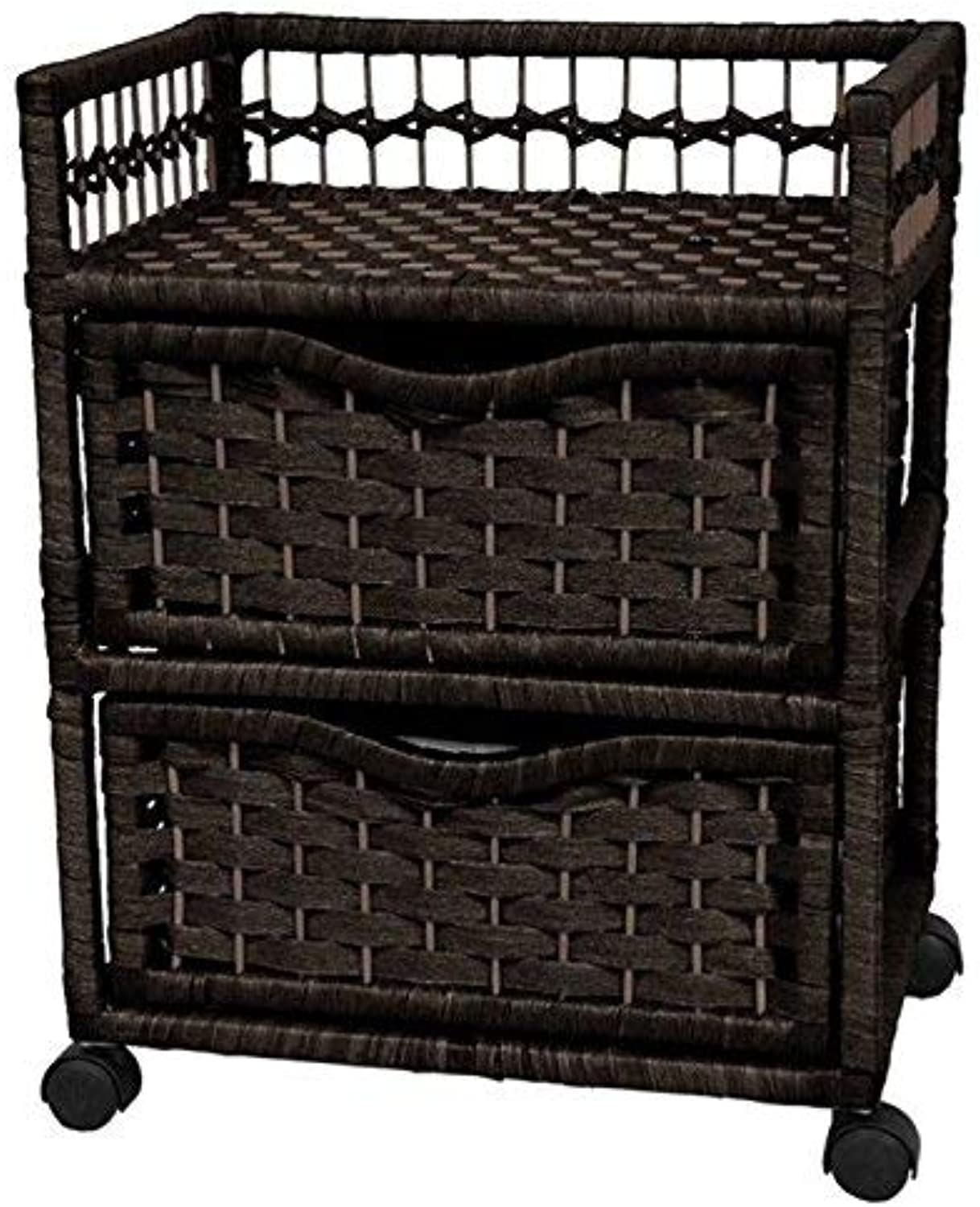Oriental Furniture Best Price End Tables, 22-Inch Japanese Design 2 Drawer Nightstand with Swivel Casters, Black