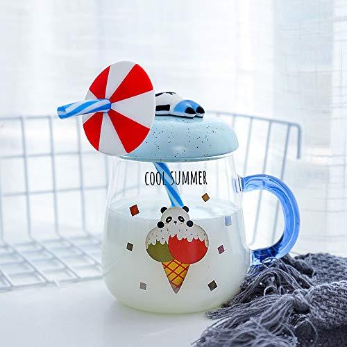 Cartoon Creative Straw Glass, High Boro Silicon Cup 400ml Blue Panda