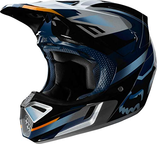 FOX Racing V-3 Helmet Hommes, Blue/Silver, M