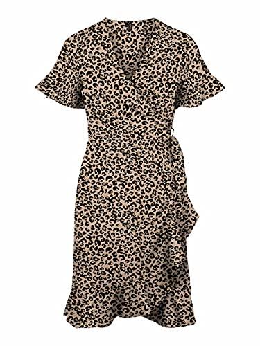 VERO MODA Damen VMSAGA 2/4 WRAP Frill Dress WVN GA Kleid, Toasted Almond/AOP:LEONITA, XS