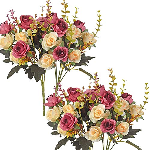 Moomass Artificial Flowers. 4 Bunches of Artificial Roses. 48 Small Roses....