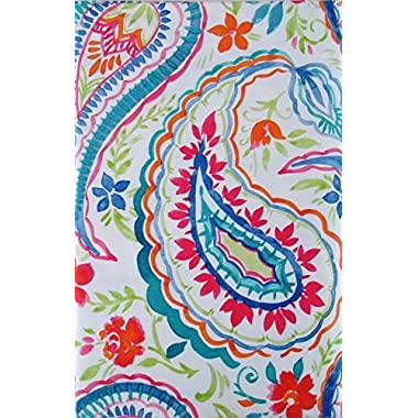 Summertime Watercolor Floral Paisley Vinyl Flannel Back Tablecloth (52  x 90  Oblong)