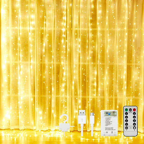 Curtain String Lights for Bedroom Twinkle - 300 Led Fairy String Lights Battery Operated or USB Powered, Window Curtain Lights with Remote and Hook for Weddings Party Outdoor Indoor Wall Decor