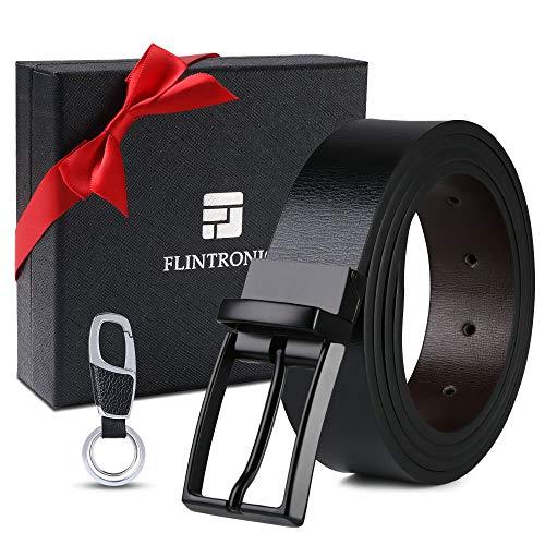 flintronic ® Cinturón Cuero Hombre, 125cm Cinturón con Reversible Correa de Hebilla de Pin Para Jeans, Trajes, Ropa Informal y Formal, Negro y Marrón(con llavero y caja de regalo)