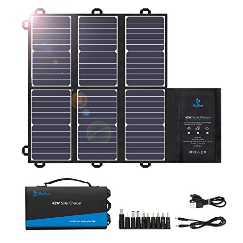 BigBlue Portable Solar Charger (2 USB+DC Outputs), 42W Waterproof SunPower Solar Panel Charger for Camping and Backpacking, Foldable and Fast Charge, Compatble with Cellphones, Battery Packs, iPad etc