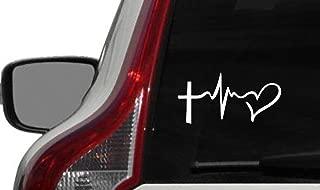 Cross Heartbeat Heart Car Vinyl Sticker Decal Bumper Sticker for Auto Cars Trucks Windshield Custom Walls Windows Ipad Macbook Laptop and More (White)