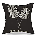 Decorative Throw Pillow Case Square Cushion Cover Gray Plant Tree Trophy Palm Leaf Victory Grey People Sport Green Award Black Earth Branch Champion Linen Farmhouse Style Pillowcase 18 x 18 Inch