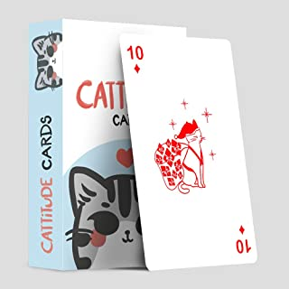 Cattitude Cards - Animated Cute Cats illustrations Playing Cards