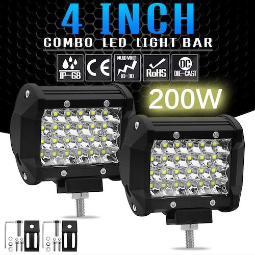 HaiMa 1Pc 200W 4' Led Combo Barra De Luz De Trabajo Spotlight Off-Road Conducción Fog Lamp Truck - Negro