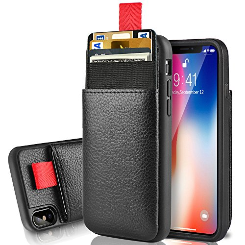 LAMEEKU Wallet Case for Apple iPhone Xs iPhone X 5.8'', Protective Leather Cases Credit Card Holder Slot Pocket, Shockproof TPU Bumper Phone Cover Compatible for iPhone Xs/X - Black