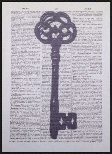 Parksmoonprints Affiche murale de dictionnaire vintage Motif clé squelette