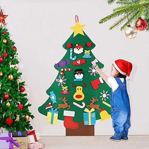 AFASOES Arboles de Navidad de Fieltro para Pared 94 cm con 25 Adornos Arbol Navidad...