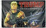 Zenda Trump Make America Great Again Flag 3 x 5 Machine Gun MAGA Rambo Trump 2020 RPG