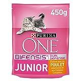 Purina One Junior de 1 à 12 mois Au Poulet et aux Céréales Complètes 450 g - Croquettes pour Chaton - Lot de 10