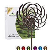 SteadyDoggie Solar Wind Spinner Willow Leaves 61inches Tall (1.55m) - Multi-Colour LED Light from Solar Powered Glass Ball with Kinetic Wind Spinner - Dual Direction for Patio Lawn & Garden
