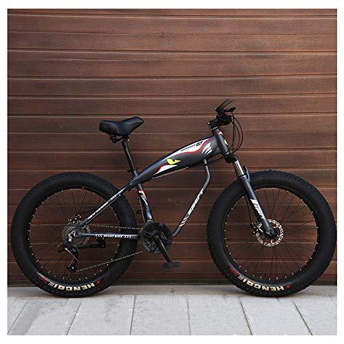 Unbekannt Mountain Bikes, 26-Zoll-Fat Tire Hardtail Mountainbike, Alurahmen Alpine Fahrrad, Frauen Der Männer Fahrrad Mit Federung Vorne,Grau,27Speed