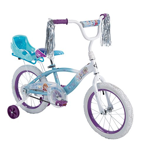 Huffy Disney Frozen 16' EZ Build Girls Bike with Sleigh Doll Carrier, White/Blue