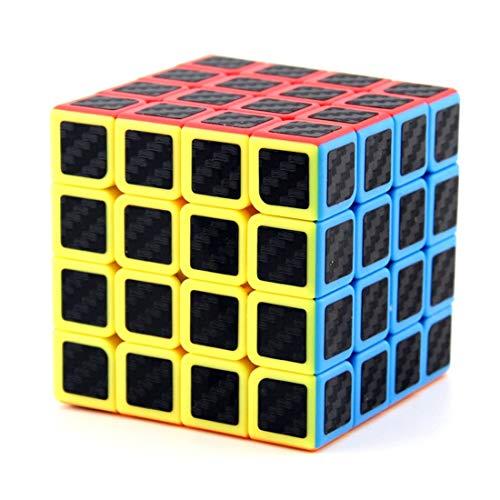 EDOSTORY Speed Cube 4X4x4 Cube Carbon-Faser-Aufkleber-Geschwindigkeits-Würfel-Ultra-Schnelle Und Reibungslose