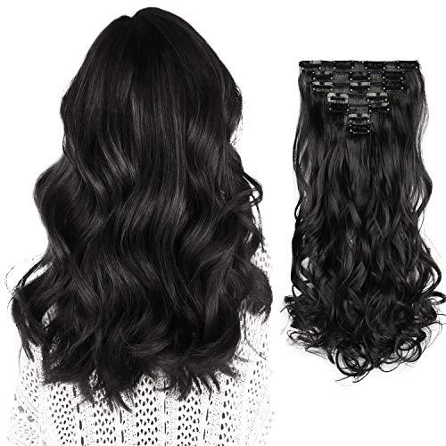 FESHFEN 7 Teile Set Clip in Extensions, 50cm Haarverlängerung Clips Haarteil Extensions Clip in Gewellt für Mädchen, Natürliches Schwarz