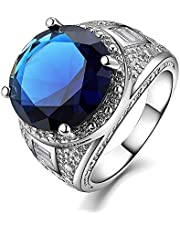 Luxurious men ring silver With blue sapphire stone US size 8