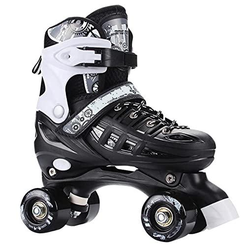 duvetset Roller Skates for Women,Quad Roller Skates for Children Sport Outdoorschuhe Inline Skates Skateboardschuhe Adults Rollschuhe,SchwarzezweireihigeSchuhe-L(EU39-EU42)