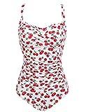 Ekouaer Womens 50s Retro Vintage Cherry Print One Piece Swimwear...