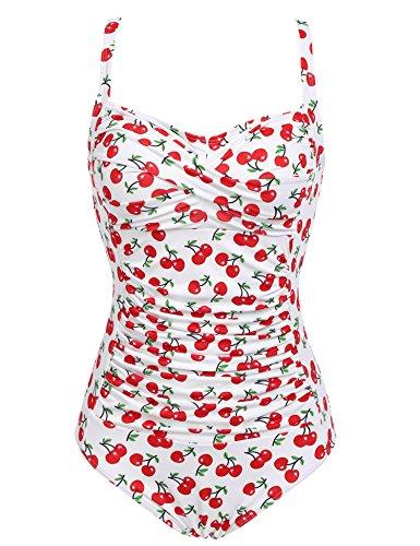 Ekouaer Womens 50s Retro Vintage Cherry Print One Piece Swimwear Monokinis,White Cherry,X-Large