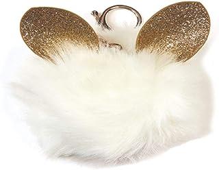 Glitter Ears Furry Pom-Pom Decorative Purse and Backpack Clip Keychain Charm