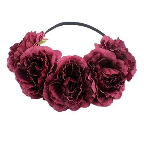 Kanggest 1 Piezas Diadema de Flores Mujer Venda de Pelo Alta Elasticidad Cinta de Pelo Banda Para la Cabeza Para Adornos Para el Pelo Boda(Vino Tinto)