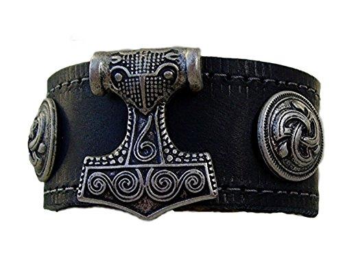 Lederarmband Thor`s Hammer mit Trischel Farbe schwarz