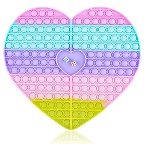 Big Heart Pop Game Fidget Toy, Chess Board Push Bubble Popper Fidget Sensory Toys for Parent-Child...