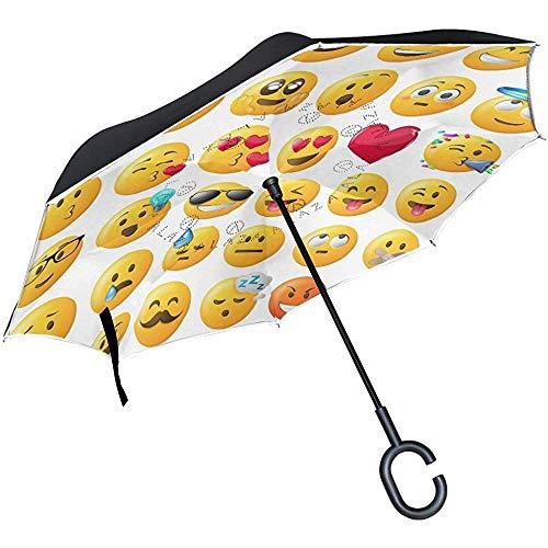Dliuxf Umgekehrter Smileys Emoticons-Regenschirm-Auto-Rückwinddichter Regenschirm für das Auto im Freien mit C-förmigem Griff