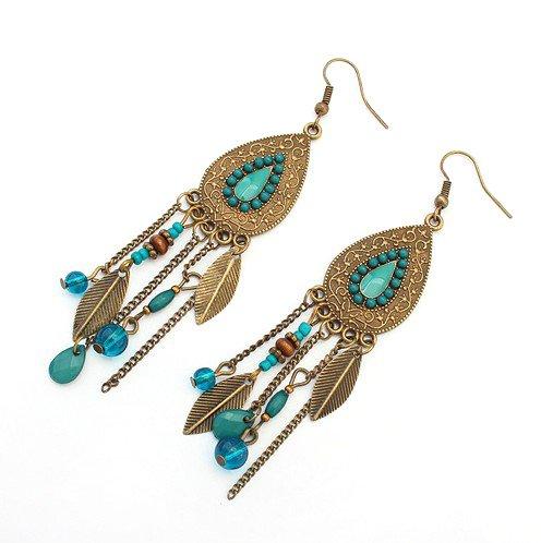 LUFA Femmes Filles Oval Feuilles Alliage Crochet Goujons d'oreilles Tassels Beads Long Boucles d'oreilles Bleu