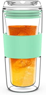 BINE 14OZ Double Wall Insulated Glass Tumbler with Glass Lid Borosilicate Glass Tea/Coffee Mug | Reusable Hand Blown Drinking Glass - Mint Green/Green/Red (Mint Green)