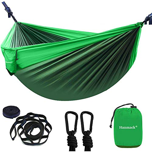 Double Hammocks,Camping Hammock with 2 Tree Straps and 2 Carabiners, Lightweight Nylon Parachute...