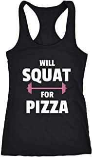 Womens Will Squat For Pizza Funny Racerback Gym Tank Top