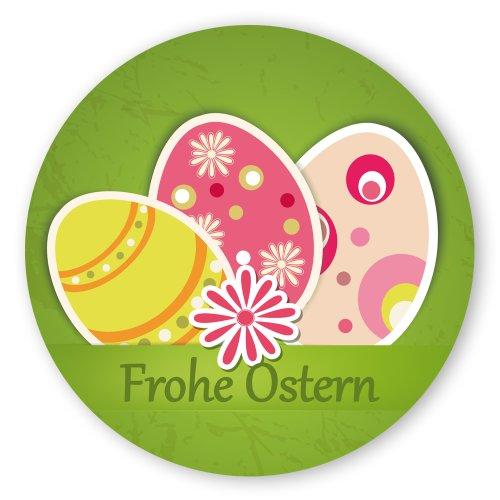 Oster-Aufkleber Ostern-Sticker rund Ø 30mm selbstklebende PE-Folie, 100 Stück auf Rolle Frohe Ostern mit Ostereier
