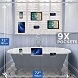 ARILEIBRAND Luxury Clear Shower Curtain Liner. Mildew Resistant, Waterproof for Your iPhone, Android Devices/Shower Organizer. Hooks Included.