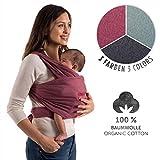 Laleni Fascia Porta Bambino e Bebè, 100% Cotone Organico, Rosso (Carla-Red)