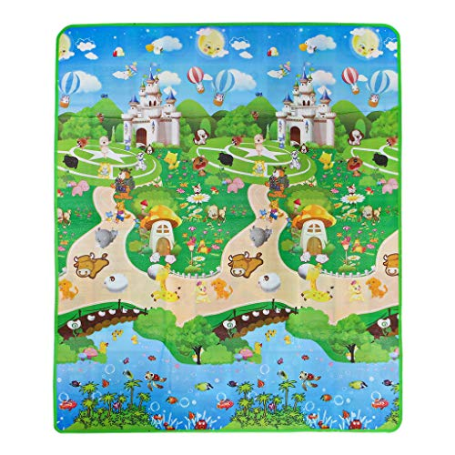 Museourstyty Kids Play Mat Manta de espuma para suelo de dibujos animados animales, patrón de actividad infantil, cojín suave de juguete Multicolor
