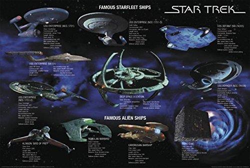 Star Trek Poster Famous Starfleet Ships Collage (101,5cm x 68,5cm) + weiße Geschenkverpackung. Verschenkfertig!