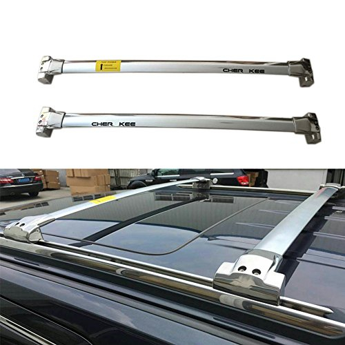 Plata Acero Inoxidable Equipaje Equipaje portaequipajes barras transversales Tejado Ferroviario para Jeep Grand Cherokee 2011 – 2019