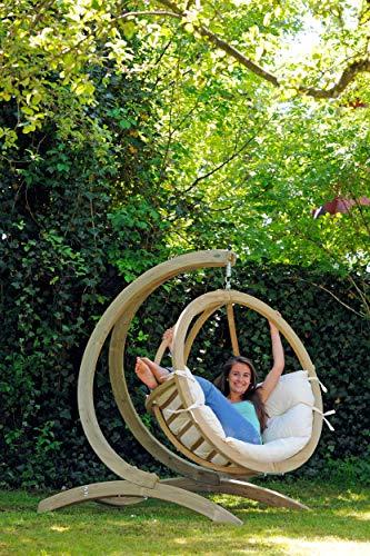 AMAZONAS Hängesessel in edlem Design Globo Chair Natura aus FSC Fichtenholz bis 120 kg in Weiß - 4
