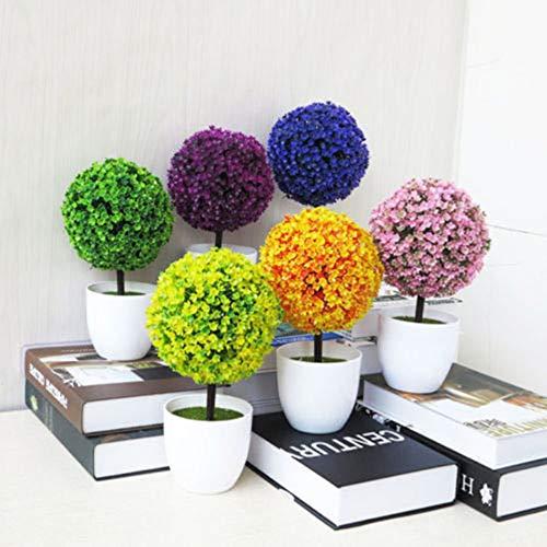 QFERW Jarrón Decorativo Artificial Bola de Exterior Planta Árbol Maceta Color Pequeño Mediano Grande Plástico Flores Artificiales, Verde