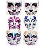 6 Packs PADOUN Halloween Skull Face Jewels Tattoo Stickers, Face Gems Jewels Temporary Face Tattoos, Rhinestone Face Jewels Tattoo Stickers, Crystals Body Gems for Festival Rave Party Outfit